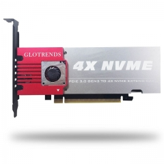 GLOTRENDS 4-Bay M.2 NVME Adapter, Support Non-Bifurcation Motherboard, Soft RAID, PCIE 3.0 X8 Bandwidth, Full Aluminum Panel with Built-in Fan