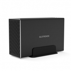 GLOTRENDS 2-Bay RAID Enclosure with 10Gbps USB C Port for 3.5 inch SATA Hard Drive