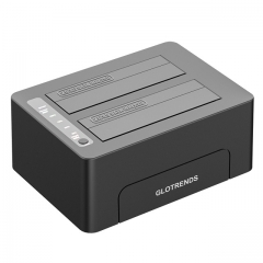 "GLOTRENDS 2-Bay Standalone Hard Drive Eraser for 2.5"" 3.5"" SATA SSD/HDD"