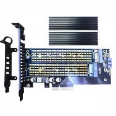 GLOTRENDS 2 in 1 22110 M.2 Adapter with Heatsink for M.2 PCIE NVME SSD (Key-M) and M.2 SATA SSD (Key B/B+M)