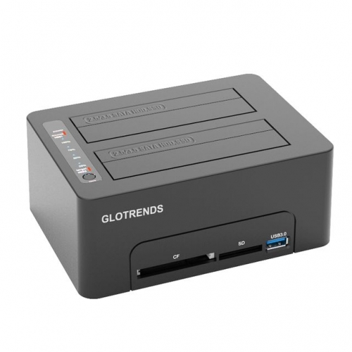 GLOTRENDS Multifunction Standalone 1:1 Hard Drive Duplicator, CF/SD Reader, USB 3.0 Hub with Quick Charger