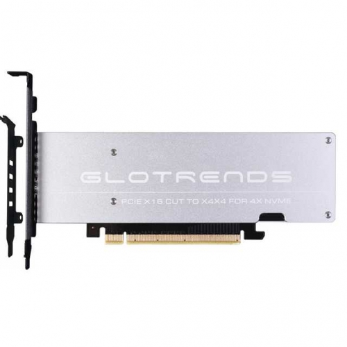 GLOTRENDS 4 Bay NVMe Adapter for Intel VROC and AMD Ryzen Threadripper NVMe RAID, Only Support PCIE Bifurcation Motherboard